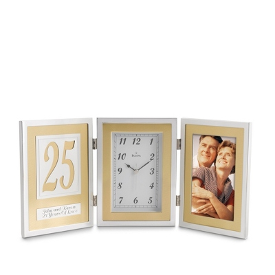 Bulova® 25th Anniversary Book Clock