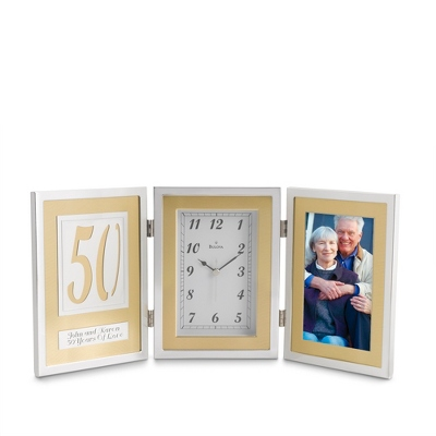 Bulova 50th Anniversary Book Clock - 25th & 50th Anniversary Gifts