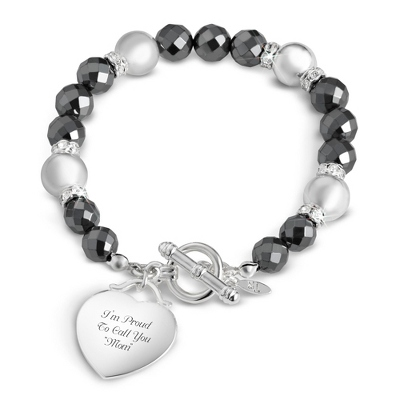 Hematite and Shiny Silver Bracelet with complimentary Classic Beveled Edge Round Keepsake Box