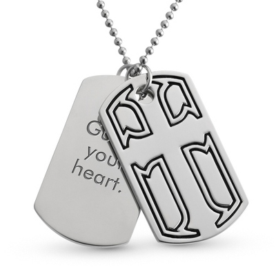 Cross Double Dog Tag- Vertical with complimentary Tri Tone Valet Box - Men's Jewelry