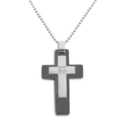 Stainless Steel Black Cross with complimentary Tri Tone Valet Box - Men's Jewelry