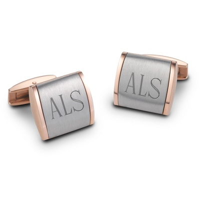 Stainless Steel and Rose Gold Cuff Links with complimentary Weave Texture Valet Box - UPC 825008230491