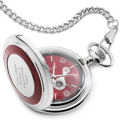 Red Carbon Fiber Pocketwatch - Men's Jewelry