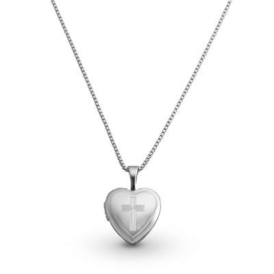 Sterling Silver Cross Girl's Locket with complimentary Filigree Heart Box - UPC 825008230552