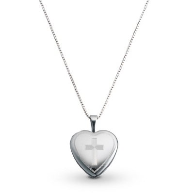 Sterling Silver Girl's Cross Locket with complimentary Filigree Heart Box - UPC 825008230569