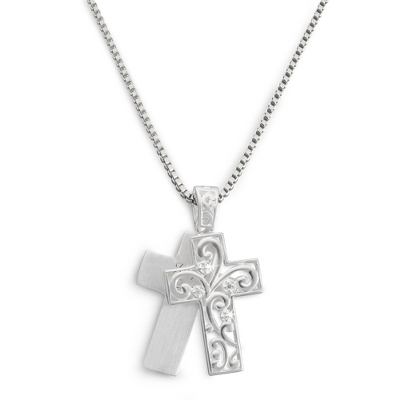 Sterling Filigree Cross Necklace with complimentary Filigree Keepsake Box - Sterling Silver Women's Jewelry
