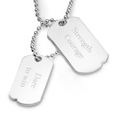 Ladies Silver Dog Tag Necklace