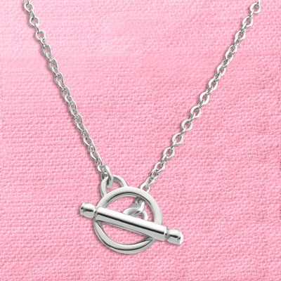 Silver Toggle Charm Necklace