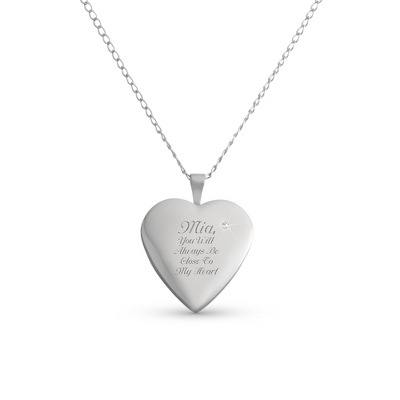 Sterling Silver Diamond Heart Locket with complimentary Filigree Keepsake Box - $80.00
