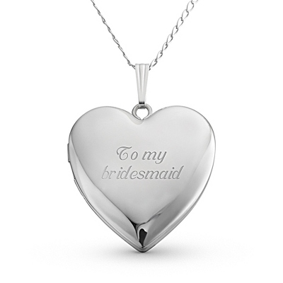 24MM Sterling Silver Heart Locket with complimentary Filigree Keepsake Box - Sterling Silver Necklaces