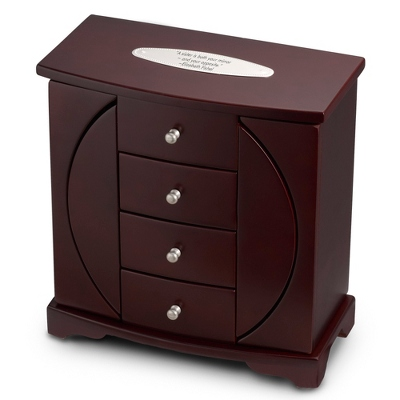Mahogany Finish Oval Cut-Out Jewelry Box - $85.00