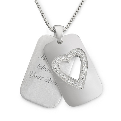 Sterling Silver Open Heart Dog Tag with complimentary Filigree Keepsake Box