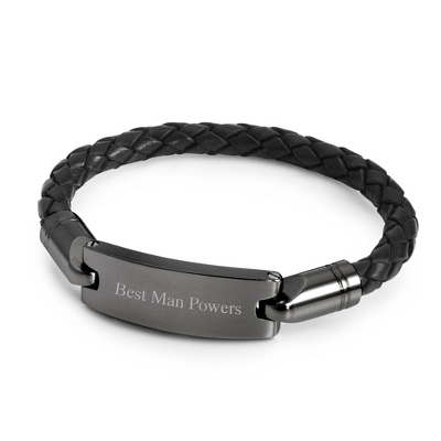 Gunmetal and Leather ID Bracelet with complimentary Tri Tone Valet Box - ID Bracelets