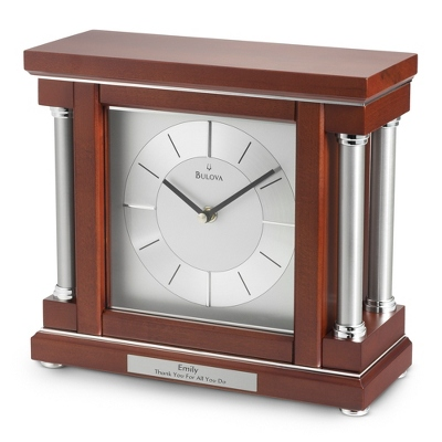 Bulova Silver Mahogany Column Clock - Home Clocks
