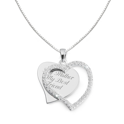 CZ Swing Heart Necklace with complimentary Filigree Heart Box - Bridal Jewelry