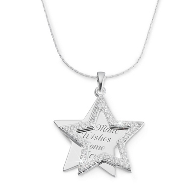 Personalized Crystal Star Necklace with complimentary Filigree Heart Box