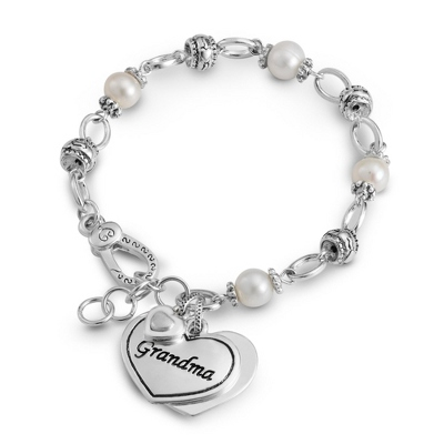 Grandma Heart Bracelet with Fresh Water Pearls with complimentary Filigree Keepsake Box - UPC 825008234826