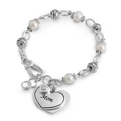 Mom Heart Bracelet with Fresh Water Pearls with complimentary Filigree Keepsake Box