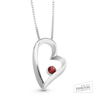 Silver Heart Necklace with Birthstone Box