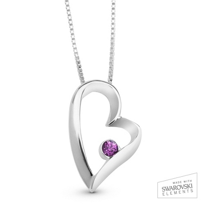 February Birthstone Heart Necklace with complimentary Filigree Keepsake Box