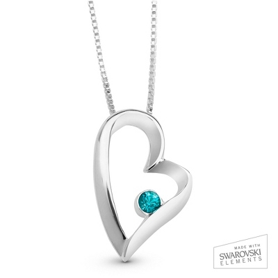March Birthstone Heart Necklace with complimentary Filigree Keepsake Box - Sterling Silver Necklaces