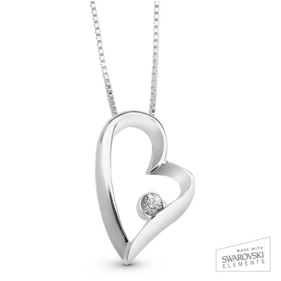 April Birthstone Heart Necklace with complimentary Filigree Keepsake Box - Sterling Silver Necklaces