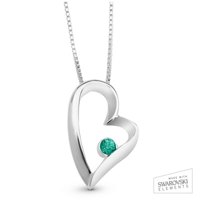 May Birthstone Heart Necklace with complimentary Filigree Keepsake Box - Sterling Silver Necklaces