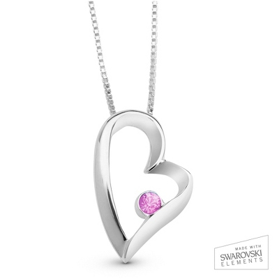 June Birthstone Heart Necklace with complimentary Filigree Keepsake Box - Sterling Silver Necklaces