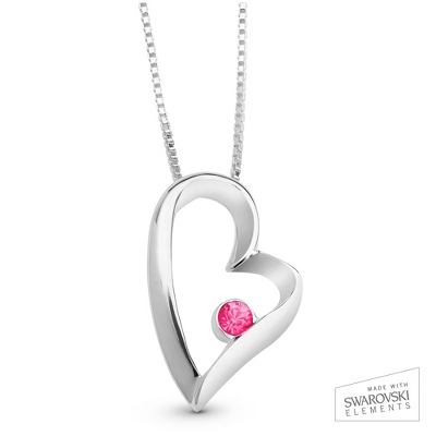 July Birthstone Heart Necklace with complimentary Filigree Keepsake Box - Sterling Silver Necklaces