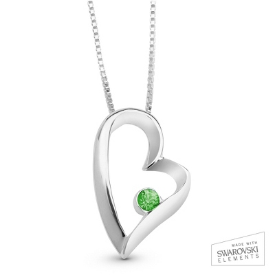 August Birthstone Heart Necklace with complimentary Filigree Keepsake Box - Sterling Silver Necklaces