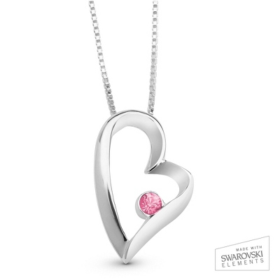 October Birthstone Heart Necklace with complimentary Filigree Keepsake Box - Sterling Silver Necklaces