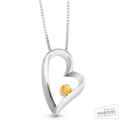 November Birthstone Heart Necklace with complimentary Filigree Keepsake Box - Sterling Silver Necklaces