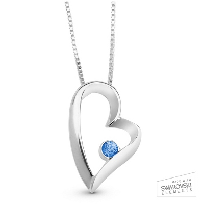 December Birthstone Heart Necklace with complimentary Filigree Keepsake Box - Sterling Silver Necklaces