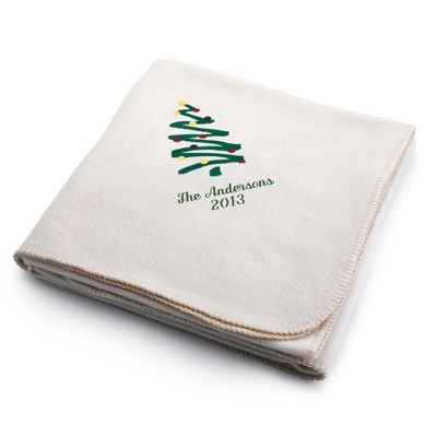 Holiday Tree Winter White Fleece Blanket - Holiday Decor