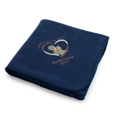 Navy Home Is Where The Heart Is Fleece Blanket