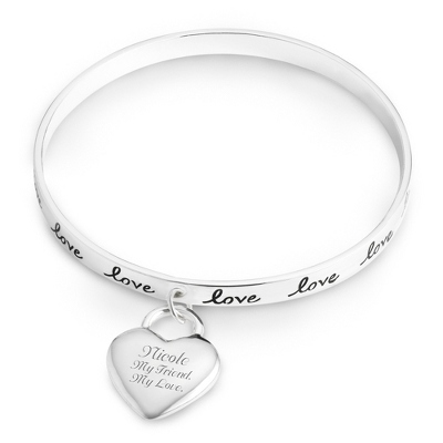 Engraved Bangle Bracelets for Women