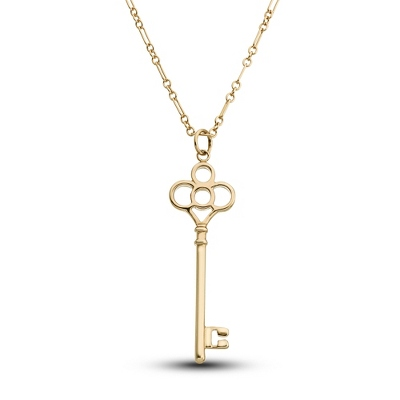 Gold Over Sterling Classic Key Necklace with complimentary Filigree Keepsake Box