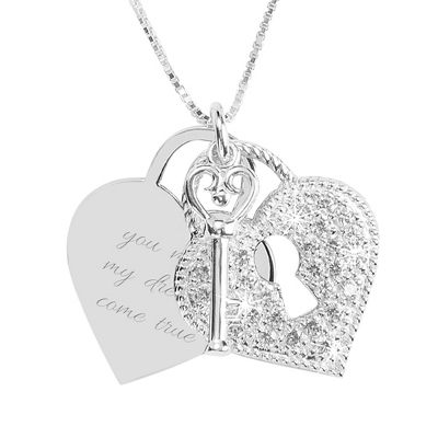 Sterling Silver Pave Lock and Key Necklace with complimentary Filigree Keepsake Box
