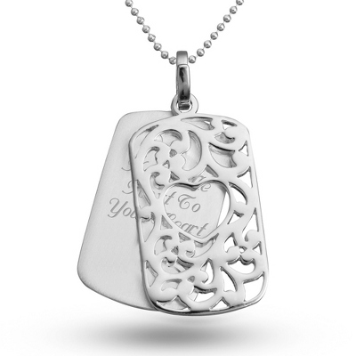 Filigree Heart Dog Tag with complimentary Filigree Keepsake Box - Fashion Necklaces