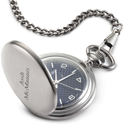 Blue Carbon Fiber Pocket Watch - Men's Jewelry