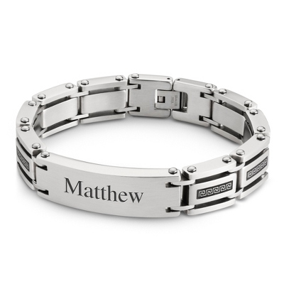 Stainless Steel Greek Key ID Bracelet with complimentary Tri Tone Valet Box