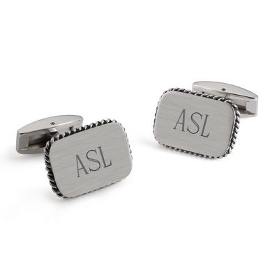 Stainless Steel Rope Edge Cuff Links with complimentary Weave Texture Valet Box