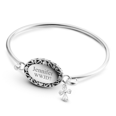 Expressions Oval and Cross Bangle with complimentary Filigree Oval Box