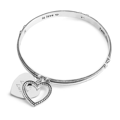 Expressions Heart Rope Bangle with complimentary Classic Beveled Edge Round Keepsake Box