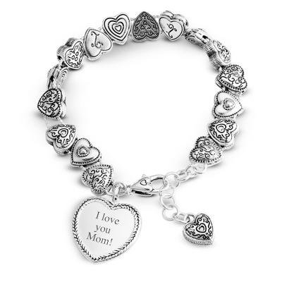 Expressions Heart Slide Bracelet with complimentary Filigree Oval Box - Fashion Bracelets & Bangles