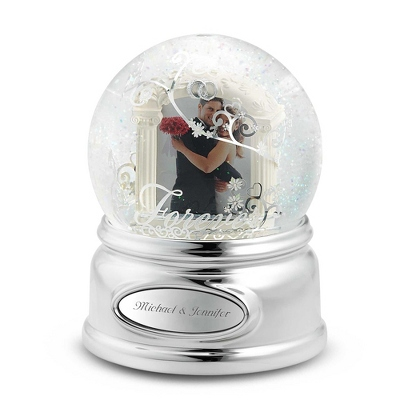 Forever Wedding Photo Musical Snow Globe