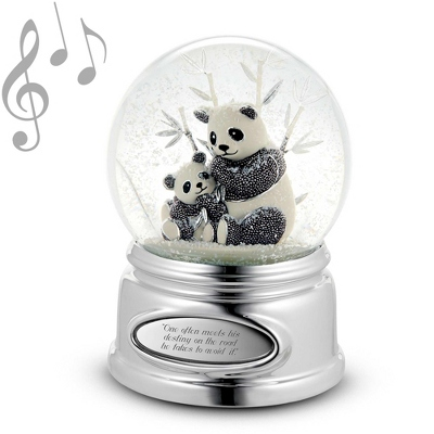 Personalized Beaded Panda Bear Water Globe