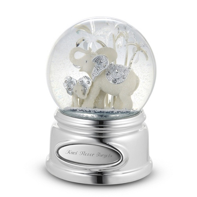 Elephant and Calf Musical Snow Globe