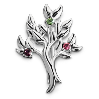 Sterling 3 Stone Family Tree Birthstone Pin with complimentary Filigree Keepsake Box