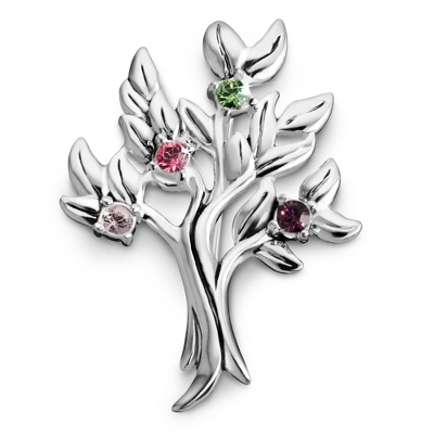 Sterling 4 Stone Family Tree Birthstone Pin with complimentary Filigree Keepsake Box